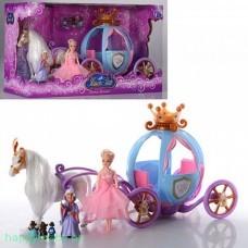 Лошадь с каретой и 2 куклами , арт. 205A