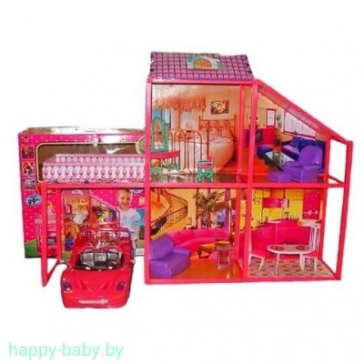 """Кукольный домик с машиной """"My lovely villa"""", для кукол до 18 см, арт. 6981"""
