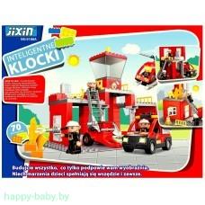 """Конструктор """"Пожарная станция"""", аналог Lego Duplo, 70 деталей, свет/звук,  арт. 9188A"""