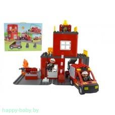 """Конструктор """"Пожарные"""", аналог Lego Duplo, 50 деталей, свет/звук, арт. 9188B"""