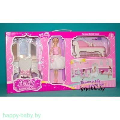 """Кукла шарнирная Анлили с мебелью """"Комната принцессы"""", арт.99045"""