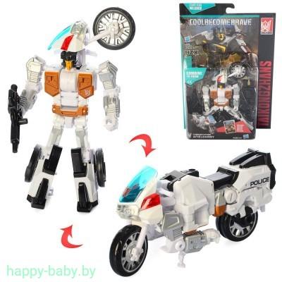 Трансформер 13см, полиция, робот+мотоцикл,арт. A102