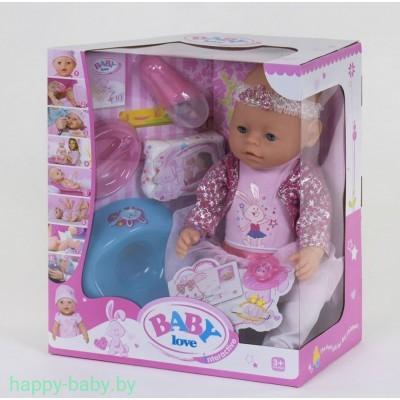 Кукла-пупс Baby Love на 9 функций (аксессуары,каша,соска,памперс) , арт. BL029D
