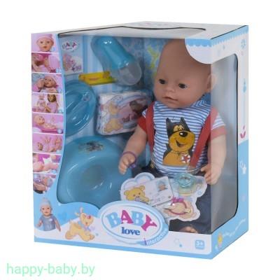 Кукла-пупс Baby Love на 9 функций (аксессуары,каша,соска,памперс) , арт. BL034D
