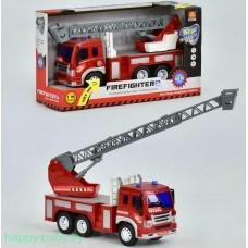 Пожарная инерционная машинка с лестницей, свет/звук, арт. WY350B